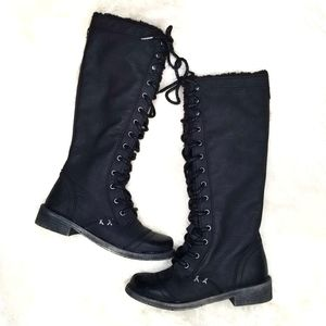 Roxy tall lace up boots black low heel sherpa 7